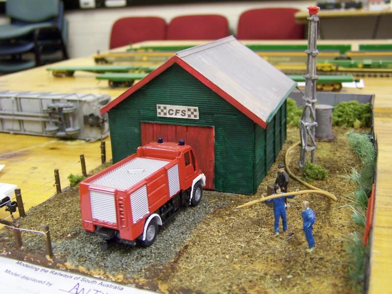 Fire Station HO scale scratchbuilt by Anthony Clayfield