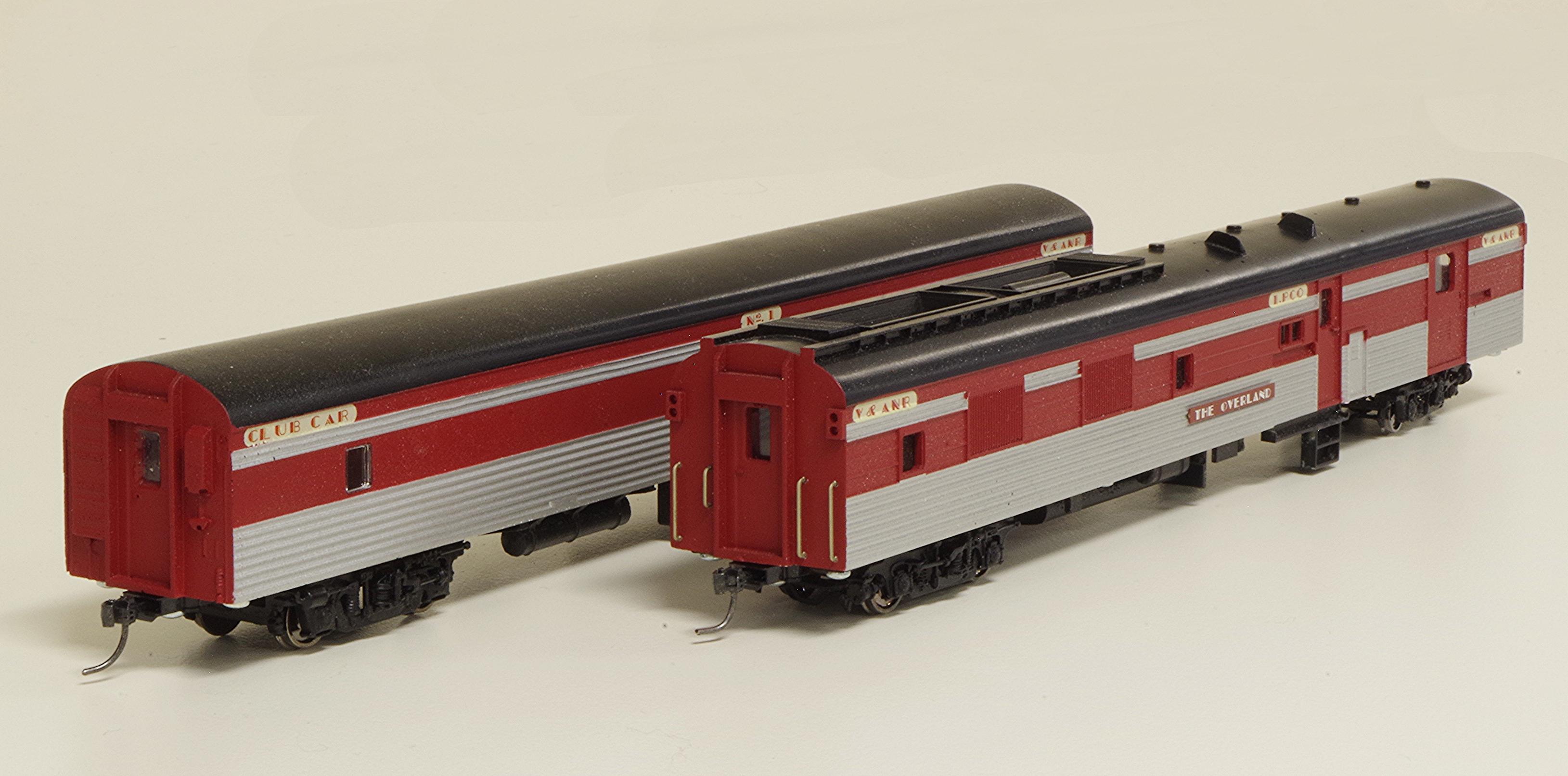 HO scale V&ANR Overland PCO and Club Car
